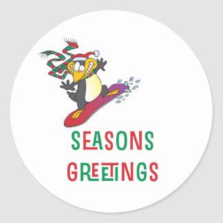 BoardChick Seasons Greetings Classic Round Sticker