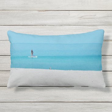 Beach Themed Boarding in Quiet Surf Outdoor Pillow