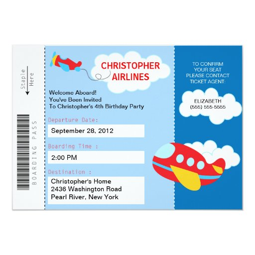 "Boarding Pass Airplane Birthday Party Invitation 5"" X 7"" Invitation Card"