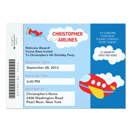 Boarding Pass Airplane Birthday Party Invitation Zazzlecom