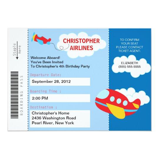 Boarding Pass Airplane Birthday Party Invitation – Airline Ticket Birthday Invitations