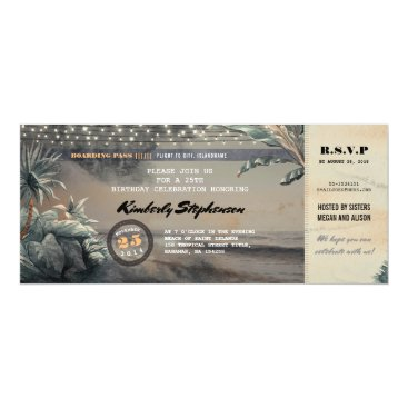 Beach Themed Boarding Pass Beach Lights Birthday Party Ticket Card