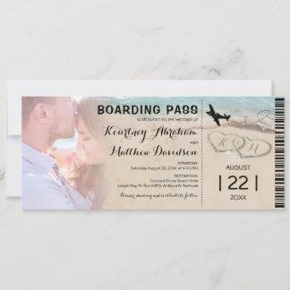 Boarding Pass Beach Photo Wedding Invitation