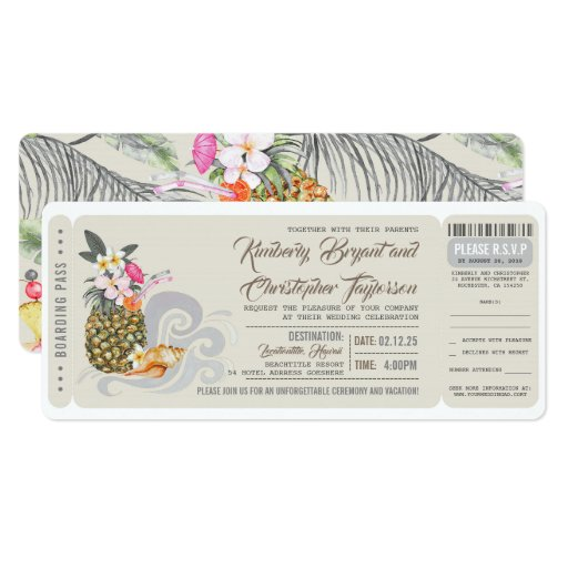 Boarding Pass Beach Pineapple Wedding Ticket Invitation