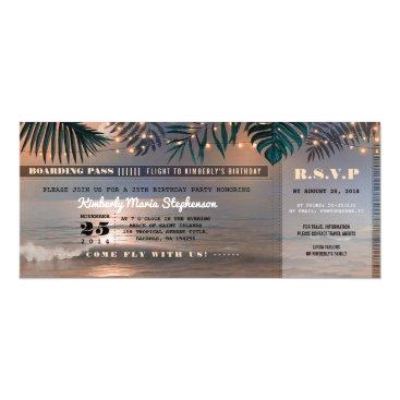 Beach Themed Boarding Pass Birthday Ticket | Beach Sunset Card