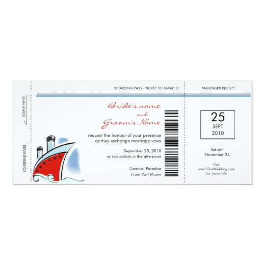 Boarding Pass Cruise Wedding Invitations Zazzlecom