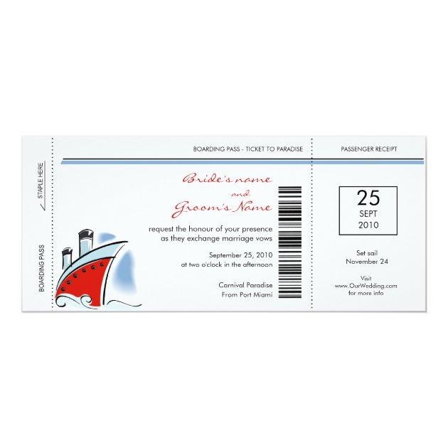 boarding pass cruise wedding invitations