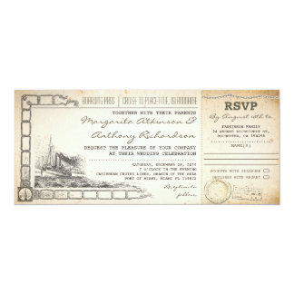 """boarding pass cruise wedding invites with rsvp 4"""" x 9.25"""" invitation card"""