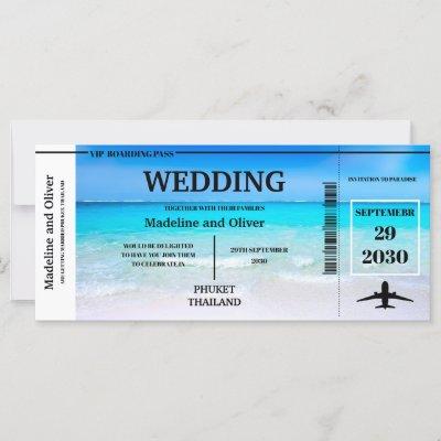 Boarding Pass Destination Tropical Beach  Wedding
