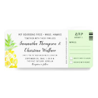 Boarding Pass Destination Wedding RSVP ticket Invitation