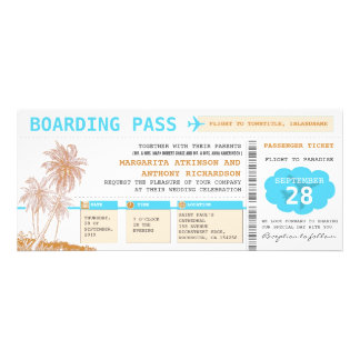 boarding pass destination wedding tickets invite