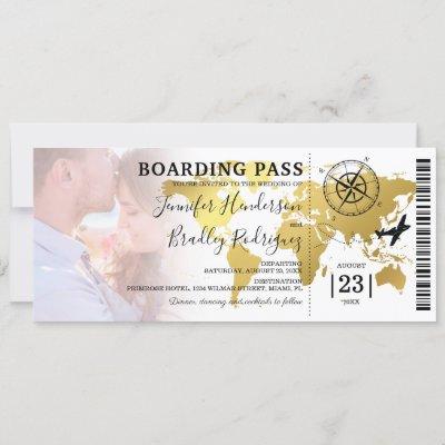 Boarding Pass Destination World Map Wedding Invitation