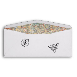 Boarding Pass Envelope with Passport Stamps & Map