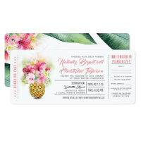 Boarding Pass Floral Pineapple Wedding Tickets Invitation