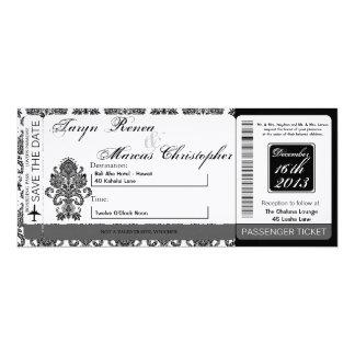 Boarding Pass Linen Wedding Invitation Damask Blac