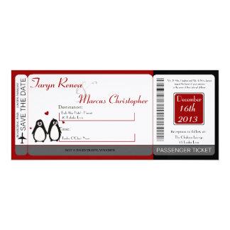 Boarding Pass Linen Wedding Invitation Penguin Lov