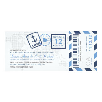 Boarding Pass Nautical Airmail Ticket Invitation