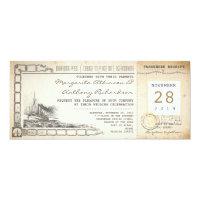 boarding pass nautical vintage wedding invitations