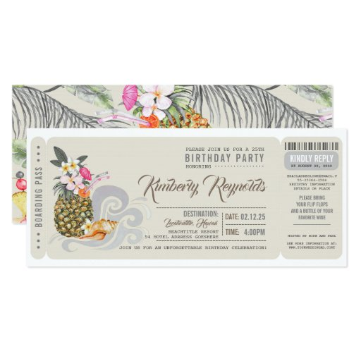 Boarding Pass Pineapple Beach Birthday Party Invitation