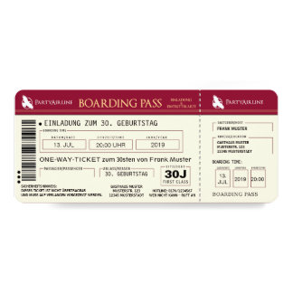BOARDING PASS plane ticket invitation map (red)