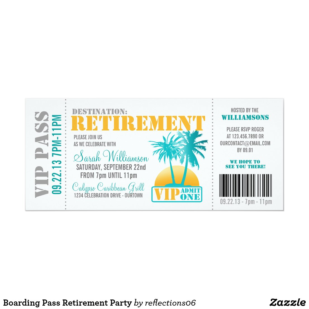 Boarding Pass Retirement Party Invitation