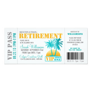 "Boarding Pass Retirement Party 4"" X 9.25"" Invitation Card"