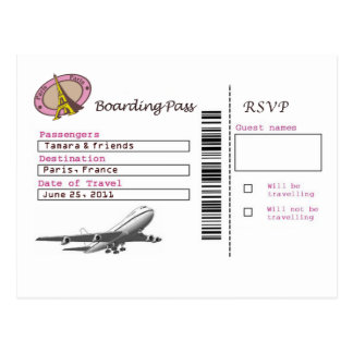 Boarding Pass RSVP Postcard