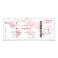 Boarding Pass Save the Date, Blush World Map Invitation