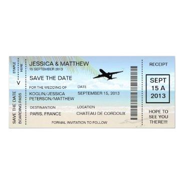 jessica91582 Boarding Pass Save The Date Invitation Announcemen