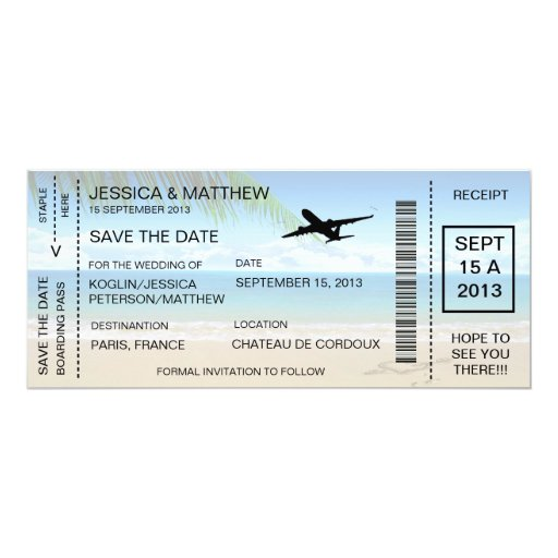 Boarding Pass Save The Date...