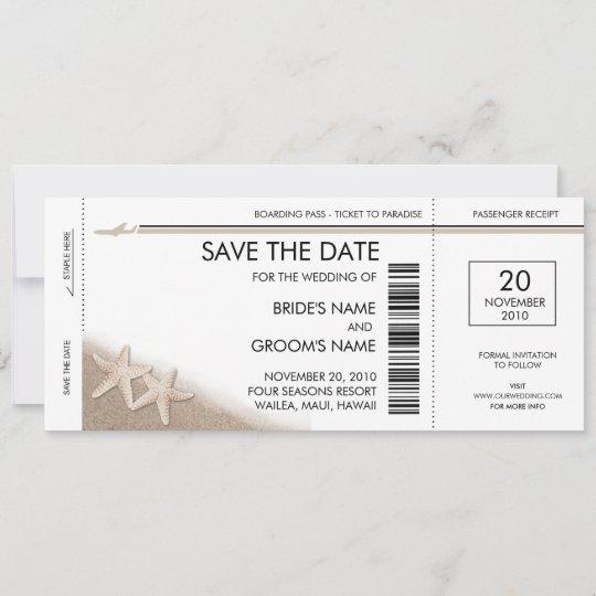 Boarding Pass Save The Date Invitations Zazzle Com