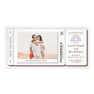 Boarding Pass Save the date Photo Card
