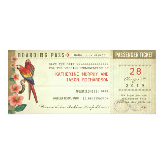 boarding pass save the date tickets card