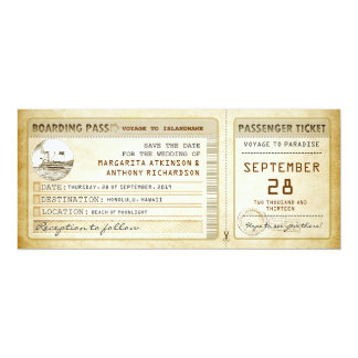 boarding pass save the date tickets with ship 4x9.25 paper invitation card
