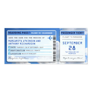 "boarding pass save the date tickets with sky cloud 4"" x 9.25"" invitation card"