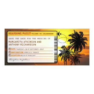 boarding pass save the date tickets with sunset 4x9.25 paper invitation card