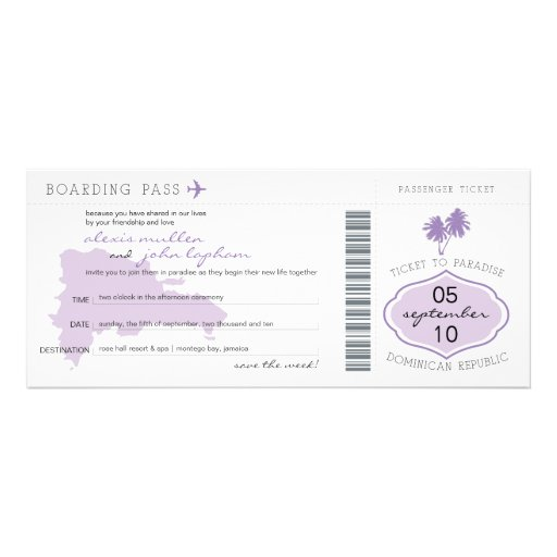Boarding Pass Save the Date to Dominican Republic Personalized Announcement