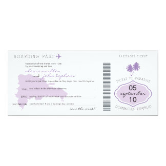 Boarding Pass Save the Date to Dominican Republic 4x9.25 Paper Invitation Card
