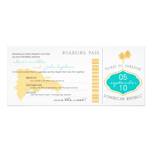 Boarding Pass Save the Date to Dominican Republic Announcements