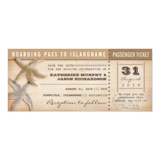 """boarding pass save the date vintage tickets 4"""" x 9.25"""" invitation card"""