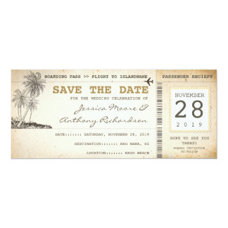 "boarding pass tickets for save the date 4"" x 9.25"" invitation card"