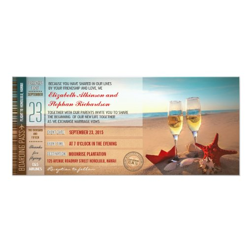 Boarding Pass Tickets Modern Beach Wedding Invitation