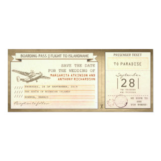 boarding pass tickets -vintage save the date 4x9.25 paper invitation card