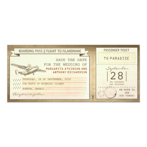 """boarding pass tickets -vintage save the date 4"""" X 9.25"""" Invitation Card"""