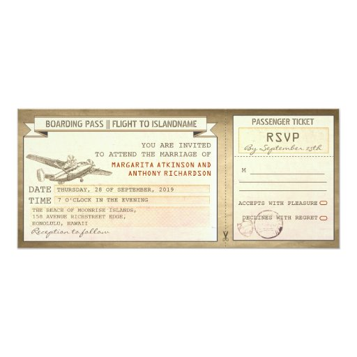 "boarding pass tickets -vintage wedding invitations 4"" X 9.25"" Invitation Card"