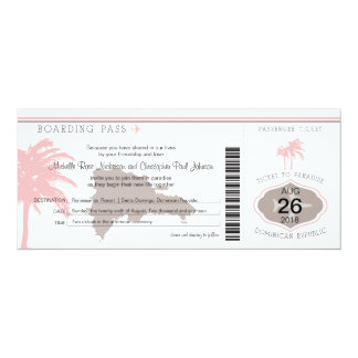 Boarding Pass to Dominican Republic Brown & Pink 4x9.25 Paper Invitation Card