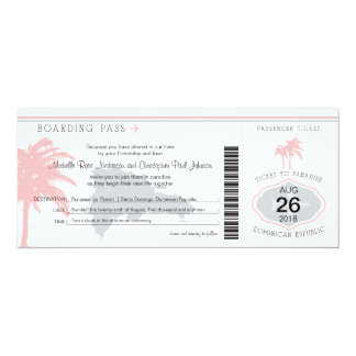 Boarding Pass to Dominican Republic Wedding 4x9.25 Paper Invitation Card