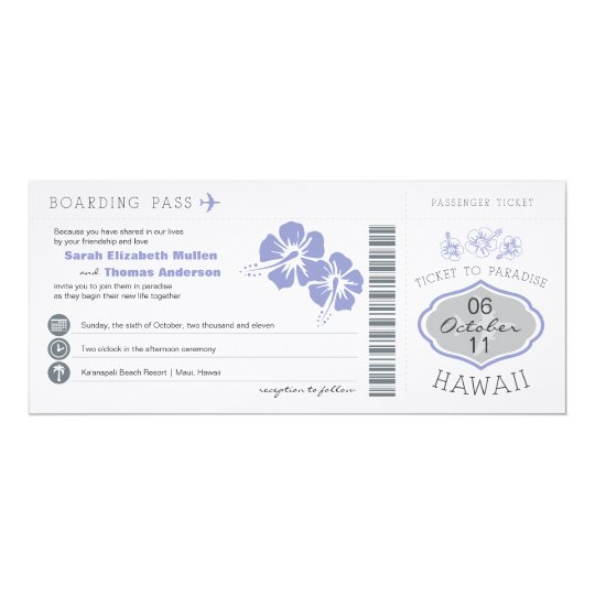 Boarding Pass to Hawaii Wedding Invitation