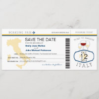 Boarding Pass to Italy Wedding Invitation