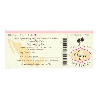 Boarding Pass to Mexico Wedding Invitation